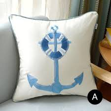 theme pillows anchors embroidered nautical pillow for shell theme