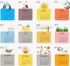 color 2018 calendar template vector material cute calendar