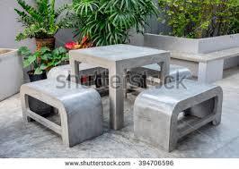Concrete Patio Table Set Concrete Bench Stock Images Royalty Free Images Vectors