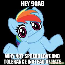 Meme Gag - hey 9gag why not spread love and tolerance instead of hate meme