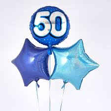 50th birthday balloon delivery blue 50th birthday balloon bouquet inflated free delivery