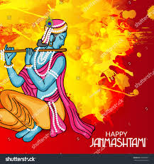 vector illustration banner indian festival janmashtami stock