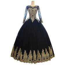 black gold ball gown long sleeve prom evening dresses cheap