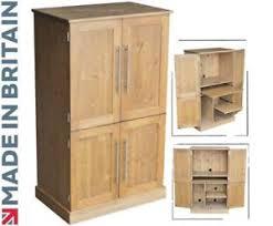 bureau ebay solid pine computer cabinet 4 door hide away desk home