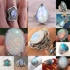 ebay rings opal images 925 silver ring woman man white fire opal moon stone wedding jpg