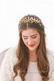gold headband golden leaf and chagne pearl headband woodland wedding headband