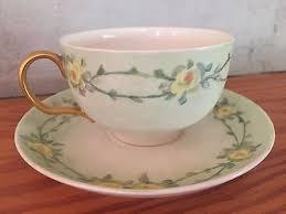 roses teacups vintage limoges teacup painted blue green with