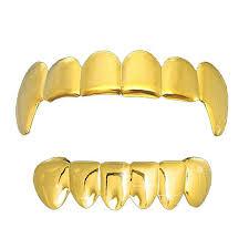 Vampire Teeth Amazon Com Gold Tone Hip Hop Bling Plain Vampire Fangs Top And