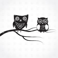 two cute cartoon black owls on a tree branch vector image 23061