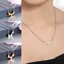 heart pendant choker necklace images New women three love heart pendant choker necklace silver gold jpg