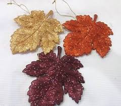 fall thanksgiving 3 glitter maple leaf leaves ornaments decoration