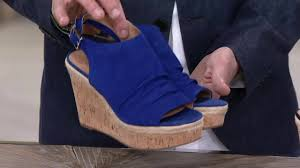 franco sarto suede ruched open toe wedge sandals trellis on qvc