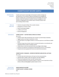 Cosmetologist Resume Objective Cosmetologist Resume Templates Samples And Job Descriptions
