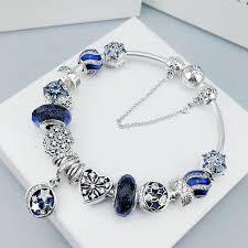 blue bracelet images Pandora sky star charm bracelet with blue charms JPG