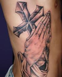 3d praying hand temporary sleevess cross tattoos for men design