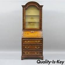 Secretary Desk Bookcase Vintage Jasper Narrow Faux Bamboo Oriental Secretary Desk Bookcase