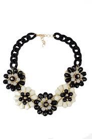 black large necklace images Black cream gold flower necklace jpg