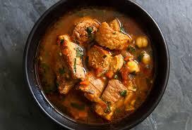 spicy pork stew with chickpeas and sausage recipe simplyrecipes com