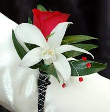 Orchid Boutonniere Red Sweetheart Rose And White Orchid Boutonniere Black