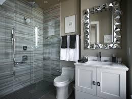 bathroom tiny guest bathroom with glass mosaic tiles on corner