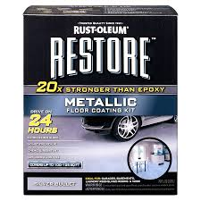 shop rust oleum restore 2 part silver metallic gloss garage floor