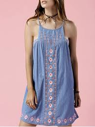 retro embroidery sleeveless chambray dress light blue dresses