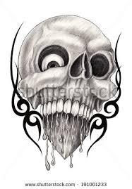 skull heart tattoo hand drawing on stock illustration 191001233