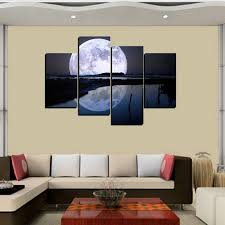 aliexpress com buy 4 panels canvas print big moon painting for