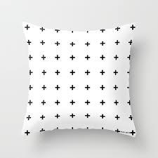 black plus on white www pencilmeinstationery throw pillow