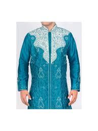 sherwani peacock blue sherwani kurta set with chudidar