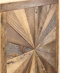 starburst pattern wall made from reclaimed wood barn wood