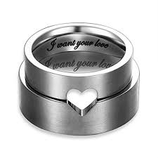 black stainless steel wedding rings i want your hollow matching flat promise rings for