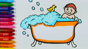 how to draw and color a boy having bath drawing and coloring a