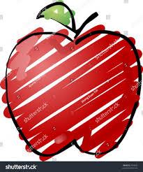 sketch apple handdrawn lineart look sketchy stock vector 4594906