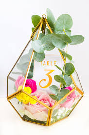 diy terrarium table numbers gold table numbers wedding blog and