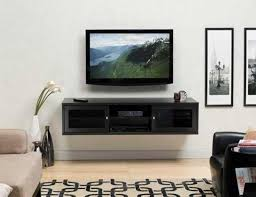 Open Shelves Under Cabinets Black Varnished Wooden Wall Mounted Media Entertainment Storage