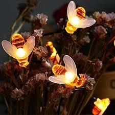 icicle solar string lights 20 led honey bee shape solar powered
