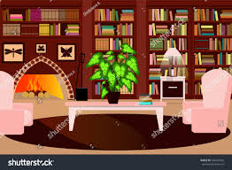 cozy living room fireplace bookcase chair stock vector 566441992