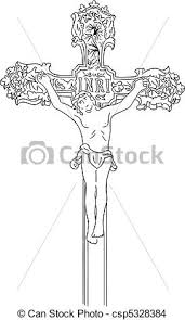 eps vector of jesus christ simple black sketch of crucified