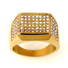 aliexpress buy nyuk gold rings bling gem online shop steel square side paved ring iced out cz gold tone