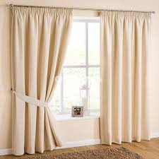 atlanta vanilla pencil pleat curtains with matching tie backs