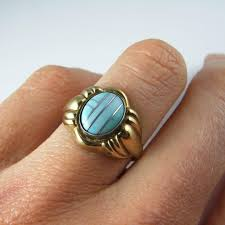 black opal mens ring antique turquoise ring art deco gold ring 1930s ring art deco
