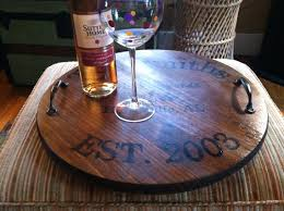 personalized photo serving tray personalized wine barrel tray custom gift for wedding