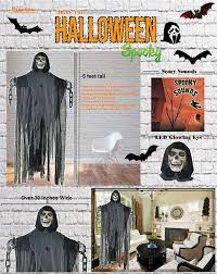 talking skeleton halloween decoration amazon com prextex 5 ft animated hanging grim reaper skull with