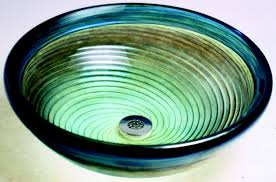 caribbean twist blown glass vessel bath sink artisan crafted home