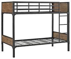 Wooden Bunk Beds Twin Over Twin Rustic Wood Bunk Bed Brown Industrial Bunk
