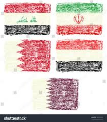 How To Draw Country Flags Crayon Draw Flag Middle East Country Stock Illustration 180570014