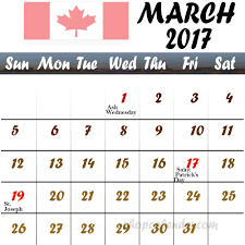 march 2017 calendar with holidays canada blank free calendar