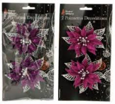 White Christmas Flower Decorations by Snow White Christmas Poinsettia Flower Decorations 2 Packs Pink