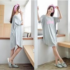 cotton nightgown summer short sleeve cute casual sleepwear